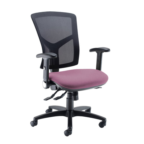 Senza high mesh back operator chair with folding arms - Bridgetown Purple - Furniture