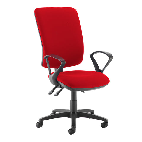 Senza extra high back operator chair with fixed arms - Panama Red - Furniture