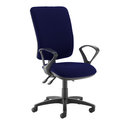 Senza extra high back operator chair with fixed arms - Ocean Blue - Furniture