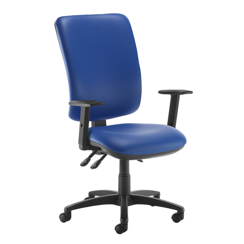 Senza extra high back operator chair with adjustable arms - Ocean Blue vinyl - Furniture