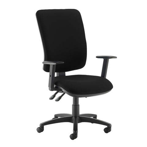 Senza extra high back operator chair with adjustable arms - Havana Black - Furniture