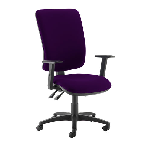 Senza extra high back operator chair with adjustable arms - Tarot Purple - Furniture