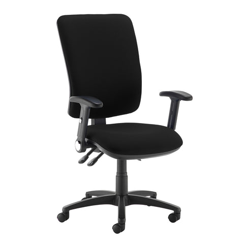 Senza extra high back operator chair with folding arms - Havana Black - Furniture