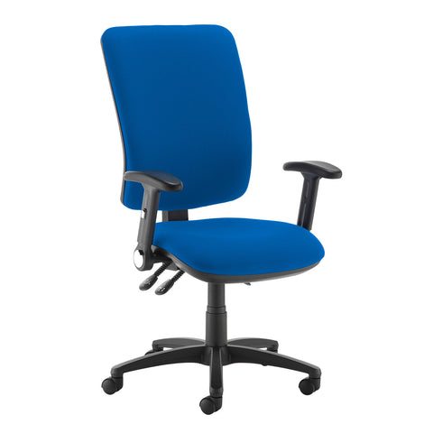 Senza extra high back operator chair with folding arms - Scuba Blue - Furniture