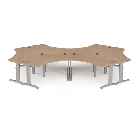 TR10 120 degree six desk cluster 4664mm x 2020mm - silver frame, beech top - Furniture