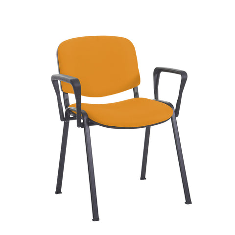 Taurus meeting room stackable chair with black frame and fixed arms - Solano Yellow - Furniture