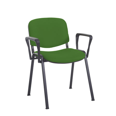 Taurus meeting room stackable chair with black frame and fixed arms - Lombok Green - Furniture