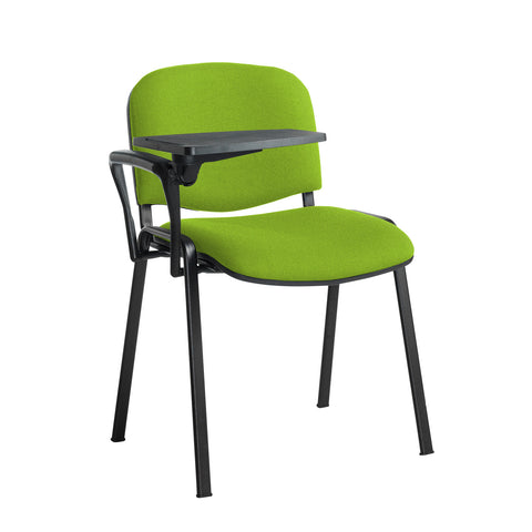 Taurus meeting room stackable chair with black frame and writing tablet - Madura Green - Furniture