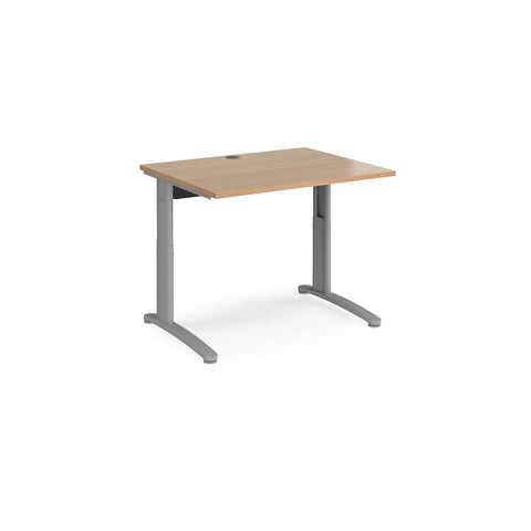 TR10 height settable straight desk 1000mm x 800mm - silver frame, beech top - Furniture