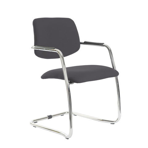 Tuba chrome cantilever frame conference chair with half upholstered back - Blizzard Grey - Furniture