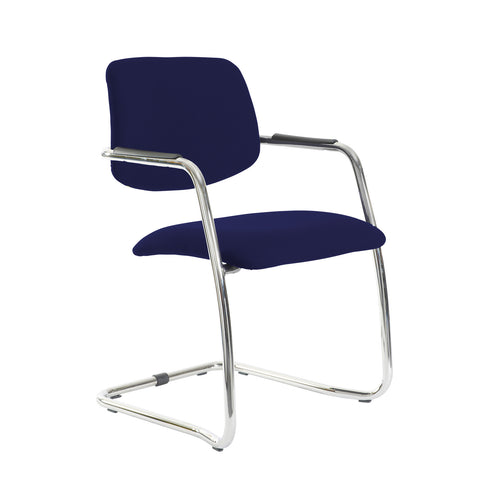 Tuba chrome cantilever frame conference chair with half upholstered back - Ocean Blue - Furniture