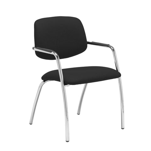 Tuba chrome 4 leg frame conference chair with half upholstered back - Havana Black - Furniture