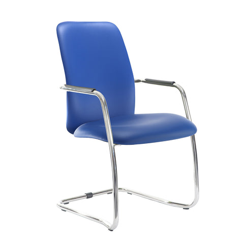 Tuba chrome cantilever frame conference chair with fully upholstered back - Ocean Blue vinyl - Furniture
