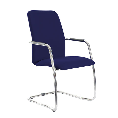 Tuba chrome cantilever frame conference chair with fully upholstered back - Ocean Blue - Furniture