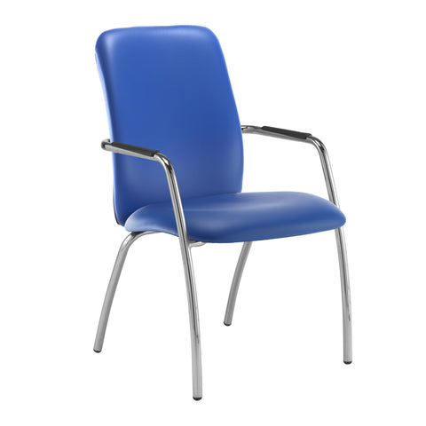Tuba chrome 4 leg frame conference chair with fully upholstered back - Ocean Blue vinyl - Furniture