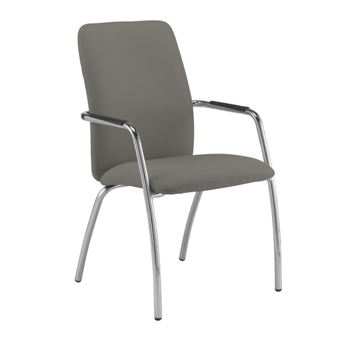 Tuba chrome 4 leg frame conference chair with fully upholstered back - Slip Grey - Furniture