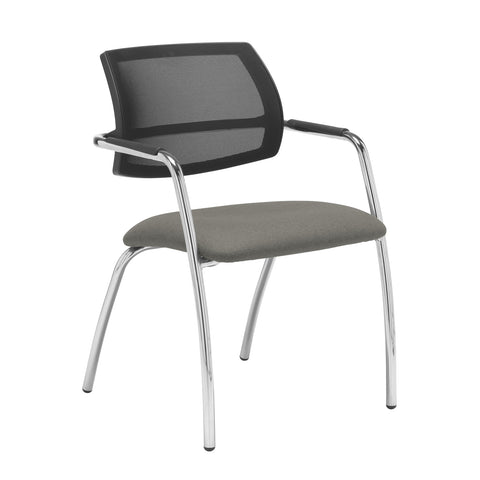 Tuba chrome 4 leg frame conference chair with half mesh back - Slip Grey - Furniture
