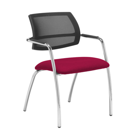 Tuba chrome 4 leg frame conference chair with half mesh back - Diablo Pink - Furniture