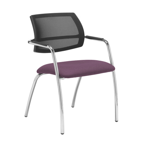 Tuba chrome 4 leg frame conference chair with half mesh back - Bridgetown Purple - Furniture