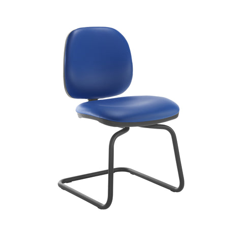 Jota fabric visitors chair with no arms - Ocean Blue vinyl - Furniture