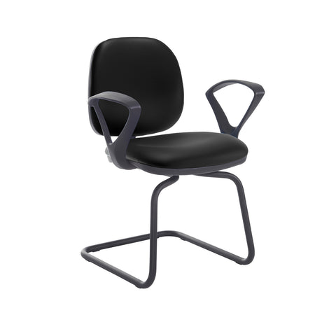 Jota fabric visitors chair with fixed arms - Nero Black vinyl - Furniture