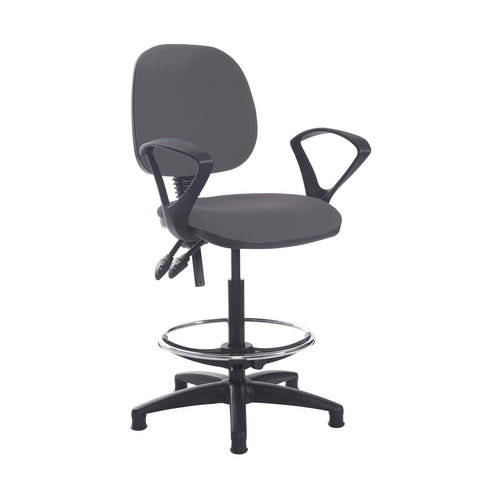 Jota draughtsmans chair with fixed arms - Blizzard Grey - Furniture