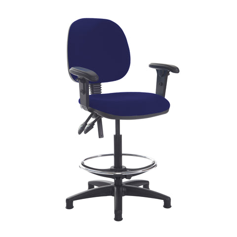 Jota draughtsmans chair with adjustable arms - Ocean Blue - Furniture