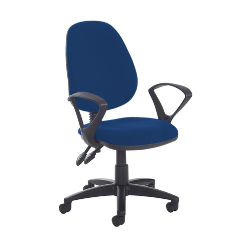 Jota high back PCB operator chair with fixed arms - Curacao Blue - Furniture