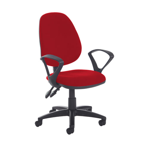 Jota high back PCB operator chair with fixed arms - Panama Red - Furniture