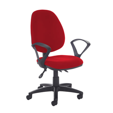 Jota high back asynchro operators chair with fixed arms - Panama Red - Furniture