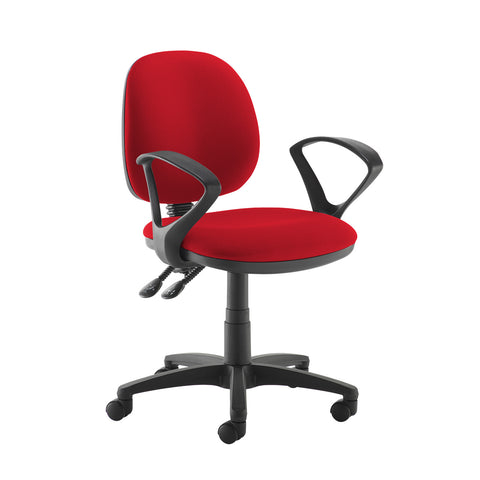 Jota medium back PCB operators chair with fixed arms - Panama Red - Furniture