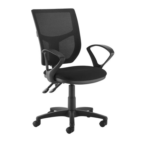Altino 2 lever high mesh back operators chair with fixed arms - black - Furniture