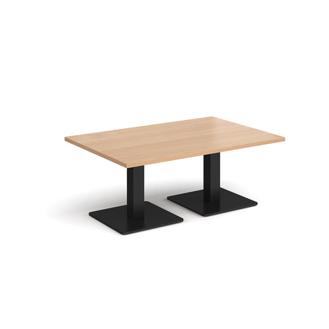 Brescia rectangular coffee table with flat square black bases 1200mm x 800mm - beech - Furniture