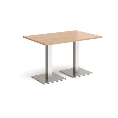 Brescia rectangular dining table with flat square brushed steel bases 1200mm x 800mm - beech - Furniture