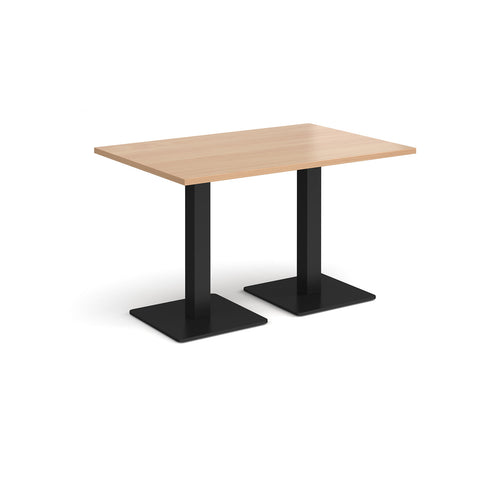 Brescia rectangular dining table with flat square black bases 1200mm x 800mm - beech - Furniture