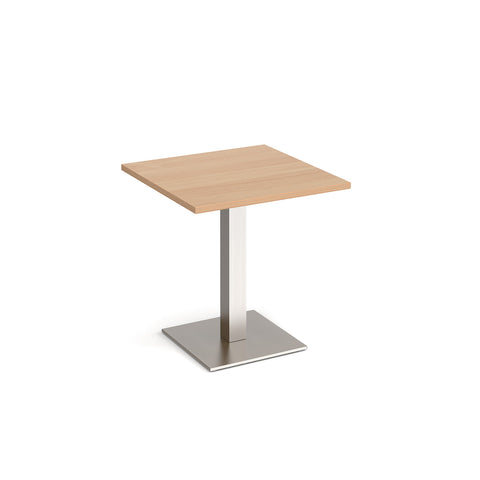 Brescia square dining table with flat square brushed steel base 700mm - beech - Furniture