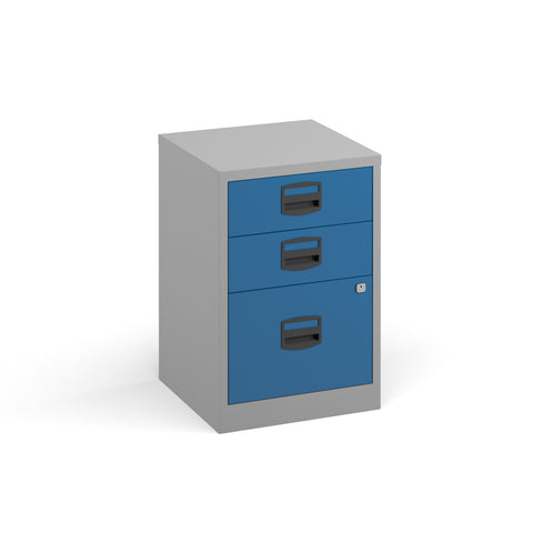 Bisley A4 home filer with 3 drawers - grey with blue drawers - Furniture