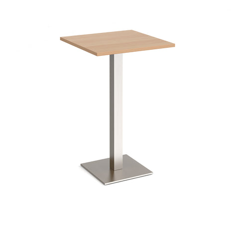 Brescia square poseur table with flat square brushed steel base 700mm - beech - Furniture