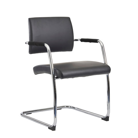 Bruges meeting room cantilever chair (pack of 2) - black faux leather - Furniture