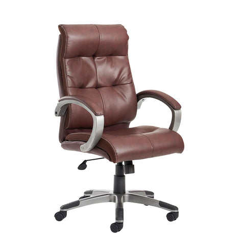 Catania high back managers chair - brown leather faced - Furniture