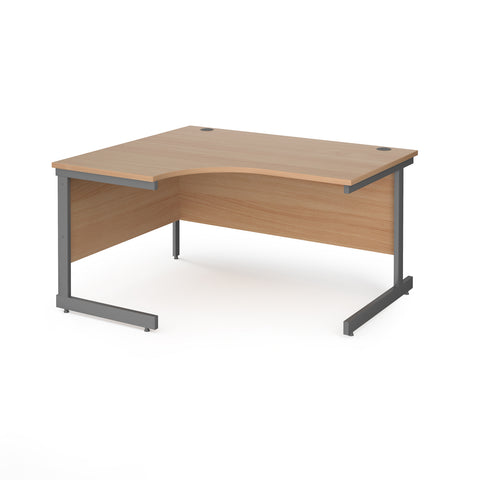 Contract 25 left hand ergonomic desk with graphite cantilever leg 1400mm - beech top - Furniture