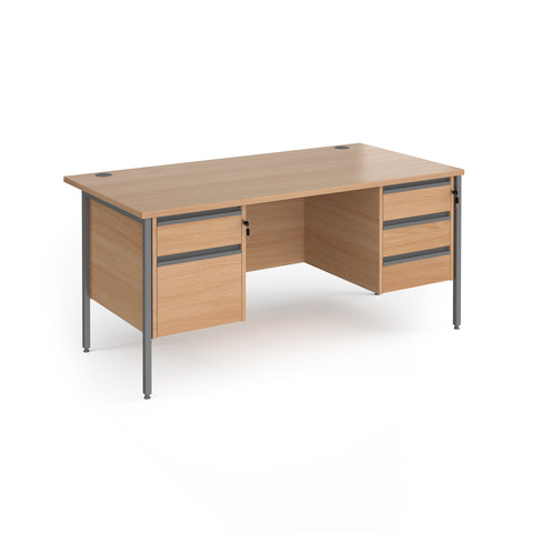 Contract 25 straight desk with 2 and 3 drawer pedestals and graphite H-Frame leg 1600mm x 800mm - beech top - Furniture