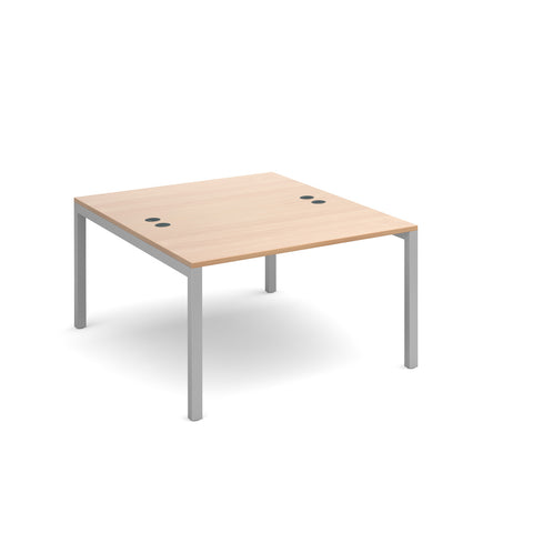 Connex back to back desks 1200mm x 1600mm - silver frame, beech top - Furniture