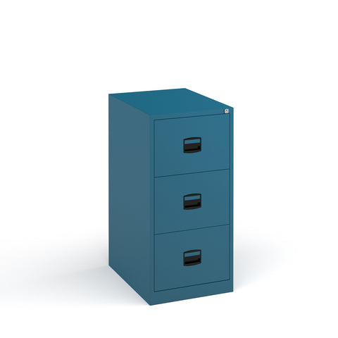Steel 3 drawer contract filing cabinet 1016mm high - blue - Furniture