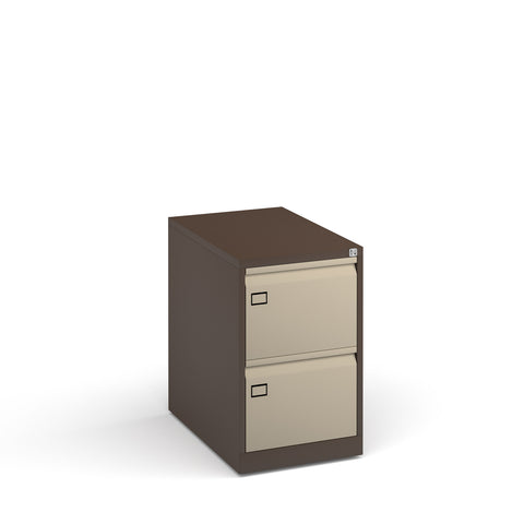 Steel 2 drawer executive filing cabinet 711mm high - coffee/cream - Furniture