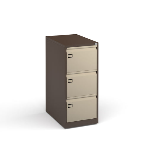 Steel 3 drawer executive filing cabinet 1016mm high - coffee/cream - Furniture