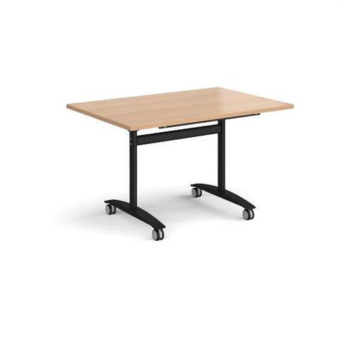 Rectangular deluxe fliptop meeting table with black frame 1200mm x 800mm - beech - Furniture