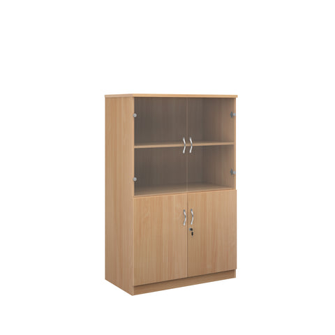 Deluxe combination unit with glass upper doors 1600mm high with 3 shelves - beech - Furniture