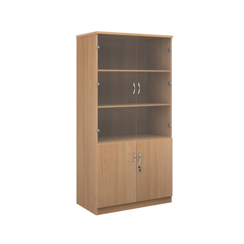 Deluxe combination unit with glass upper doors 2000mm high with 4 shelves - beech - Furniture