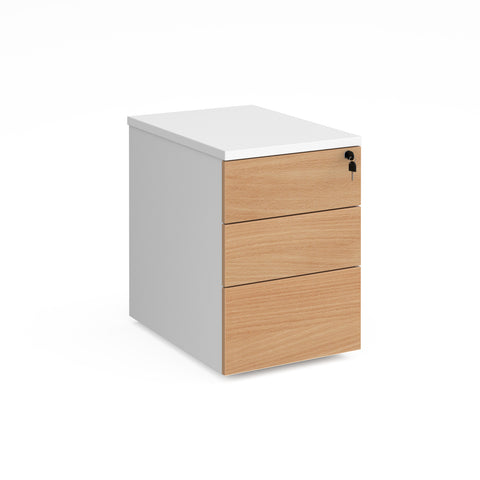 Duo 3 drawer mobile pedestal 600mm deep - white with beech drawers - Furniture
